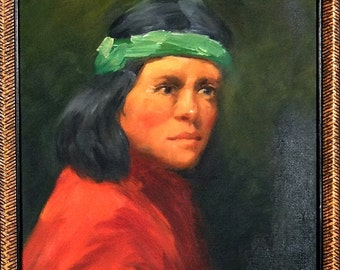 Rare ca.1980 Young Native American Portrait Painting Oil/Canvas/Frame Signed