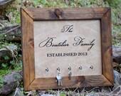 Wall Key Hanger - Key Holder - Family Established Sign - Personalized Gift - Wall Key Rack - Family Name Sign - Wedding Shower Gift - Decor