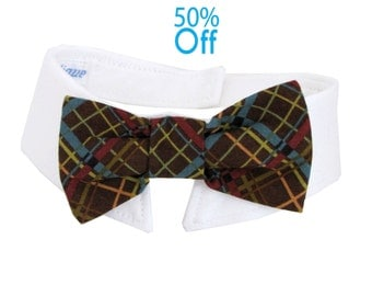 On Sale! Dog/Cat brown, maroon, and blue plaid necktie/bowtie on a shirt style collar