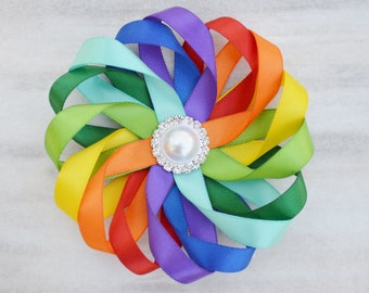 Rainbow Hair Clip, Rainbow Hair Bow, Rainbow Flower For Hair, Rainbow Headband, Flower Headband, Flower Girl Accessory, Birthday Hair Clip