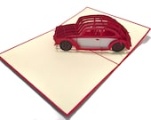 Volkswagen VW Beetle Popup Greeting Card - Red White Car Pop-Up Paper Art - Birthday 3D Card