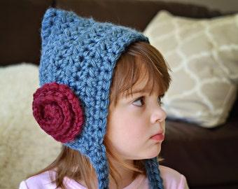 Crochet Pixie Hat with Rosette