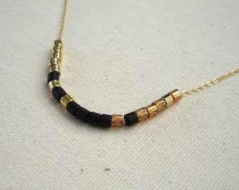 Black and Amber Color Blocked Gold Filled Choker Necklace