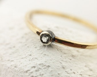 14k Gold Filled Handmade 2mm White Topaz Gemstone and Oxidized Sterling Silver Ring