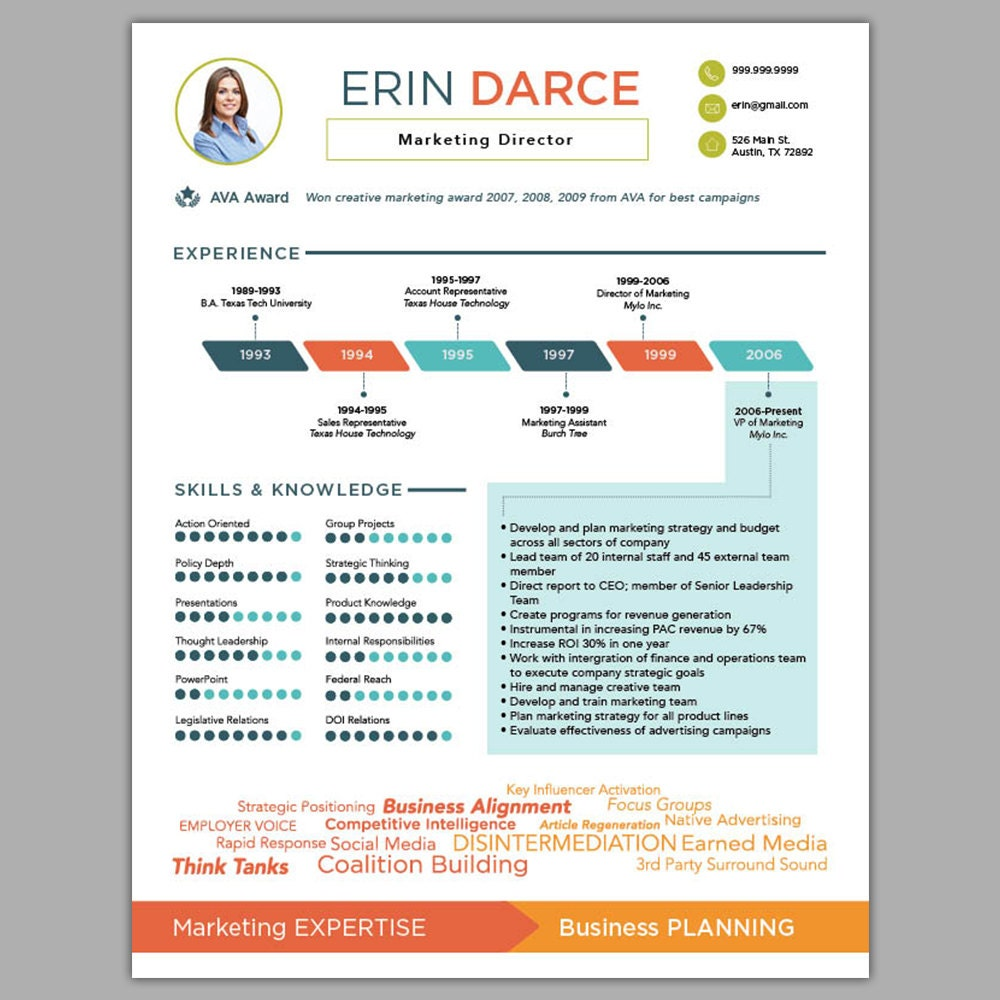 Resume Marketing Resume Design infographic resume etsy design custom creative marketing info graphic