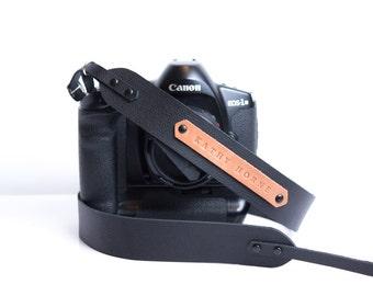 Camera strap leather personalized camera strap DSLR strap photographers gift
