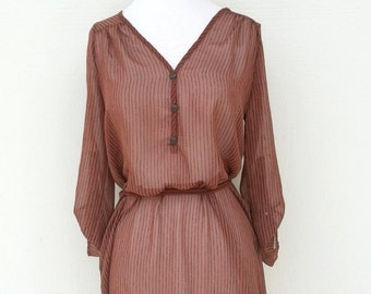 Rust Vertical Striped Sheer Shirt Dress