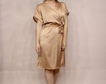 Golden Satin Robe, Bridal Satin Robe, Champagne Lace Robe, Lace Back Robe
