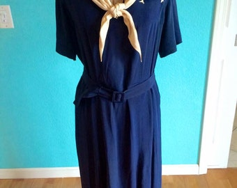 1930's navy silk bias cut deco sailor dress, with matching kerchief and belt