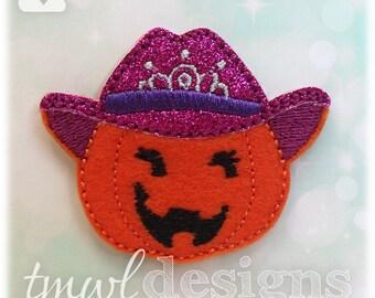 "Pumpkin Cowgirl Feltie Digital Design File - 1.75"""
