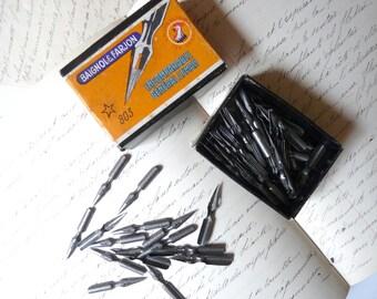 French Pen Nibs Box Baignol et Farjon Calligraphy 135 nibs #803 Incomparable Général Leman Boîte ouverte