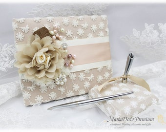 Wedding Lace Guest Book Pen Holder Set Jeweled Birthday Book Bridal Flower Brooch Guest Books Custom Signature Book in Champagne Blush Ivory