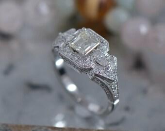 Art Deco-Inspired Square Step Cut Diamond Ring (14K White Gold)
