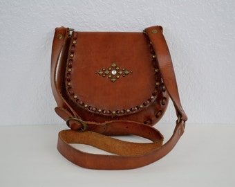SALE! FREE SHIP! Vintage Leather Mexican Handbag