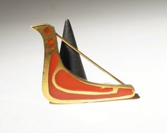 Bernard Chaudron Brooch - Bronze Enamel - Bird Dove - Mid Century - Brutalist Modernist - Quebec Canada  -1960-70