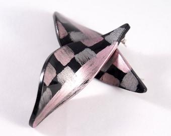 Bill Schiffer Earrings - Black Silver and Violet - BIG Curvy -  New York Punk - Resin Lucite - Memphis Design - Retro Plastic