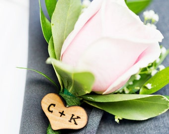 Rustic Wedding Wood Hearts with Wood Burned Initials - Bride and Groom, Mr and Mrs, Boutonniere or Wedding Decor