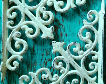 2 Large shelf brackets/ Cream / White 8 inch Cast Iron shelf brackets/Distressed option / Shabby Chic /Scroll Brackets/Tiny house decorating