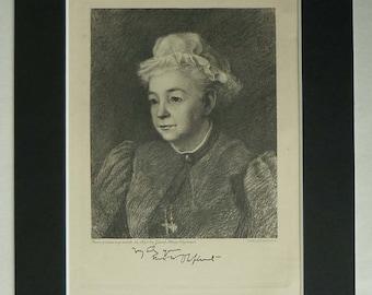 1890s Antique Print of Mrs Margaret Oliphant, Scottish Literary Decor Available Framed Scotland Art Literature Gift for Reader Book Wall Art