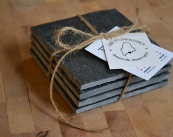 Slate Coasters - set of 4 - Black Maine Slate