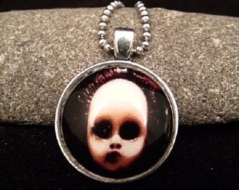 """Scary Creepy Silver Doll Pendant with 23"""" Silver Ball Chain Necklace"""