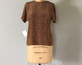 silk leopard print crop top | raglan crop top