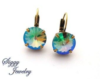 12mm Swarovski Crystal Earrings, Paradise Shine, Gorgeous Hues, Rivoli, Drop Lever-Back, SELECT a FINISH,  Siggy Jewelry, FREE Shipping