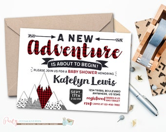 Baby Shower Invitation, Great Adventure Invitation, Adventure Invitation, Adventure Baby Shower Invitation, Buffalo Plaid Invitation