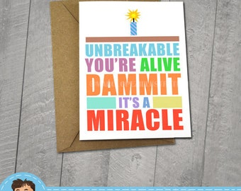 Unbreakable Kimmy Schmidt,  Approximately 5 x 7 Blank Card, Typography, Funny, Birthday Card, Animal Illustration, Fun Gift, Cute, Adorable