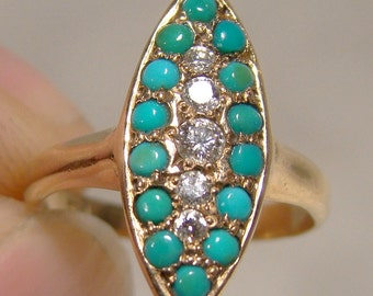 Victorian 12K Gold Turquoise & Diamonds Ring 1890 1900 12 K Antique Pinkie Size 2-3/4