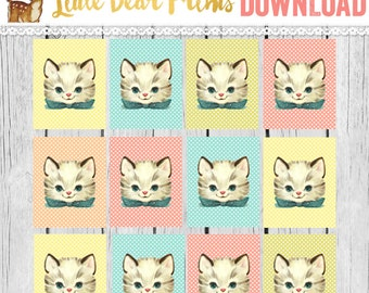 Retro Bow Tie Kitten PRINTABLE Gift Tags- Cat Gift Tags- Kitsch, Kawaii