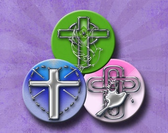 CROSSES - Digital Collage Sheet 2.5 inch round images for Pocket Mirrors, Magnets, Paper Weights - Instant Download #222.
