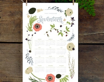 2017 Wall Calendar, 11x17 Year-at-a-Glance Calendar, Botanical Illustration, flowers, wildfllowers, floral garland and laurels