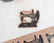 Sewing Machine Stickers. Kraft brown Stickers. Sewing Labels. Hand Sewn Stickers. Hand Sewn With Love Labels. Hand Made labels. Sewing Label