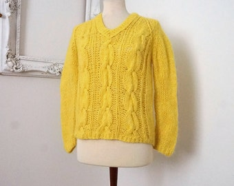Hand Knitted Yellow V Neck Sweater Vintage Italian Wool Mohair