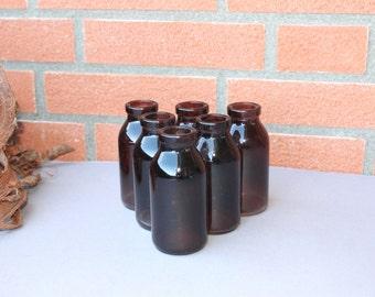Vintage 6 Brown Glass Bottles, Brown Jars, Pharmacy Chemist brown containers