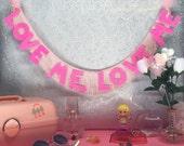 Love Me, Love Me Glittering Fringe Banner   fringe wall hanging, party banner, fringe banner, garland, home decor, glitter wall hanging