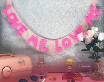 Love Me, Love Me Glittering Fringe Banner | fringe wall hanging, party banner, fringe banner, garland, home decor, glitter wall hanging