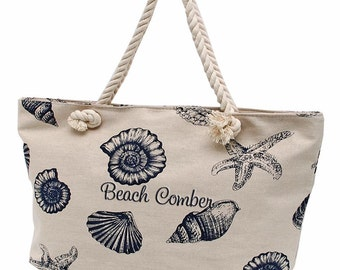 Canvas Tote Bag,Large Beach,Personalized Tote Bag,Bridesmaid Gift, Canvas Tote, Weekender Bag, Beach Bag, Overnight Bag, Sea Shells Blue