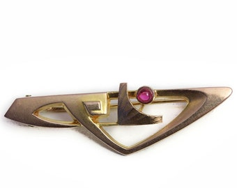 Victorian Gold Ruby Brooch antique Jewelry