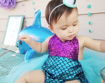 Mermaid Party 1st Birthday 1/2 Birthday Party Hat First Birthday Crown Hat Glitter Cake Smash Smash Cake Little Blue Olive
