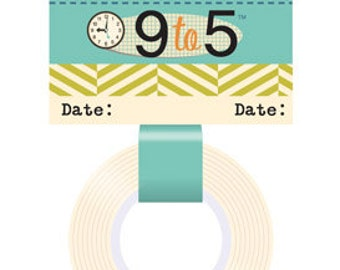 October Afternoon 9 to 5 Date Green Striped Washi Tape, 24-ft Roll of Scrapbook/Crafting Tape