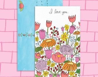 Wildflower I Love You Postcard