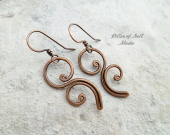 Solid copper earrings / Wire wrapped earrings / wire wrapped jewelry handmade / wire jewelry / earthy rustic copper jewelry flourish spiral