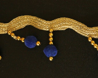 Silver Trim With Blue Velvet Beads And Gold Beads Dangles, Approx. 35mm wide - 140316L40C