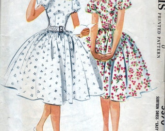 60s McCall's dress sewing patterns 5370, off shoulder dress, raglan sleeves, Bust 31 inches