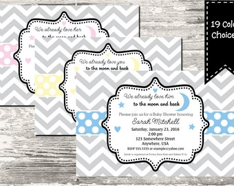 19 Color Choices Polka Dot Love You to the Moon and Back Baby Shower Invitation Printable with Free Thank You