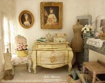 "Shabby French vanilla yellow, chest ""commode tombeau"" - French dollhouse wooden furniture in 1:12th scale"