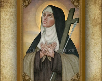 St. Mary Magdalen de Pazzi Wood Plaque and Holy Card GIFT SET #3253