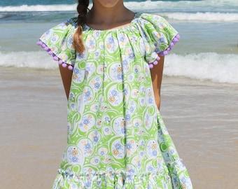 Vintage Floral Print Summer Dress with Pom Pom Sleeve